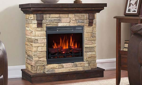 Fireplace mantel with an electric fireplace insert